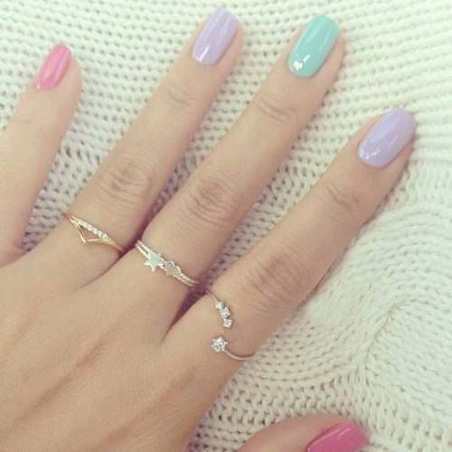 Multi coloured spring time nails
