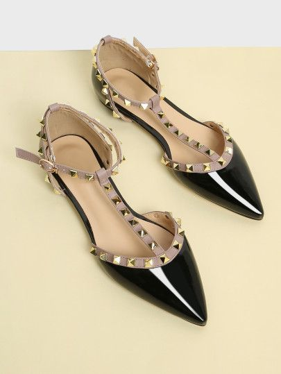 3dc8b17db1dc3 Metal Detail Almond Toe Flats -SheIn(Sheinside)