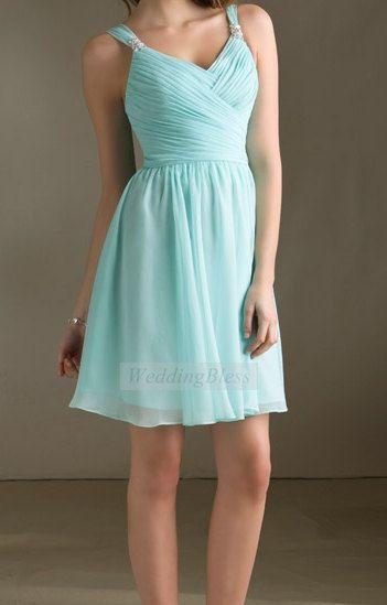 Light blue bridesmaid dress chiffon short dress by for Short light blue wedding dress