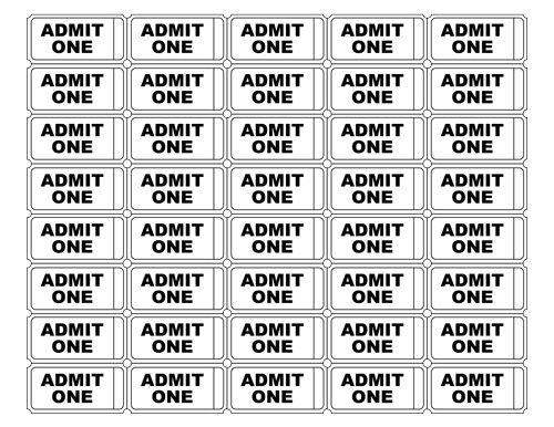 Free Printable Admit One Ticket Templates