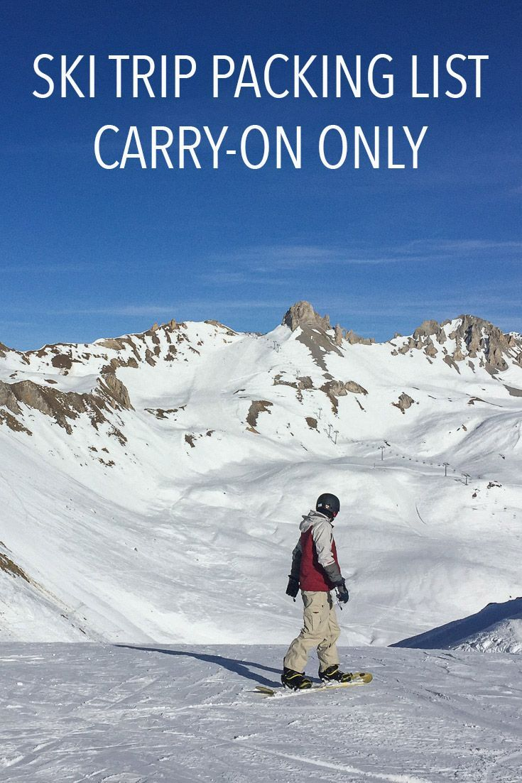It is possible to pack carry-on only for a ski trip! Click through for a ski trip packing list with everything you need for a week on the slopes in one bag.
