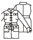 Gratis download Patronen van dameskleding: jasje in militaire stijl