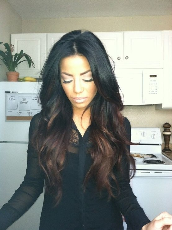 ombre for dark hair.  not a huge fan of ombre, but this is actually really pretty! hoping to get ombre hair before school starts