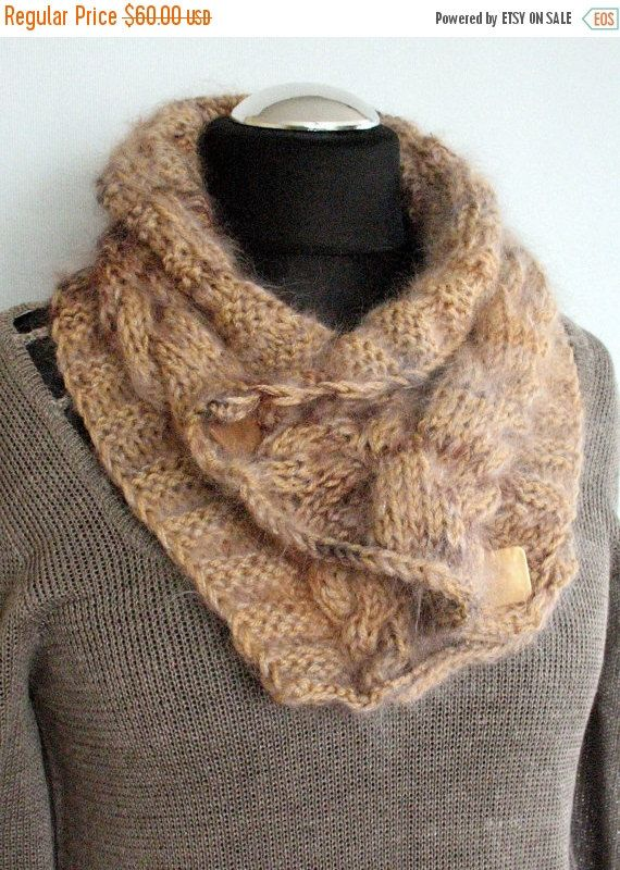 regular price Brown Chunky Short Scarf Cabled Beige by Initasworks