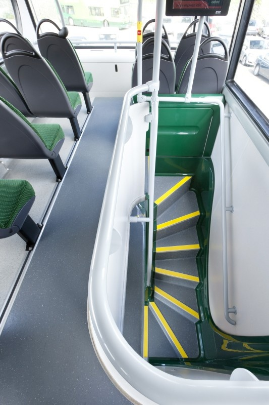 Oxford Bus Company using  Altro Transflor Chroma. The multi coloured chips enhancing the existing livery
