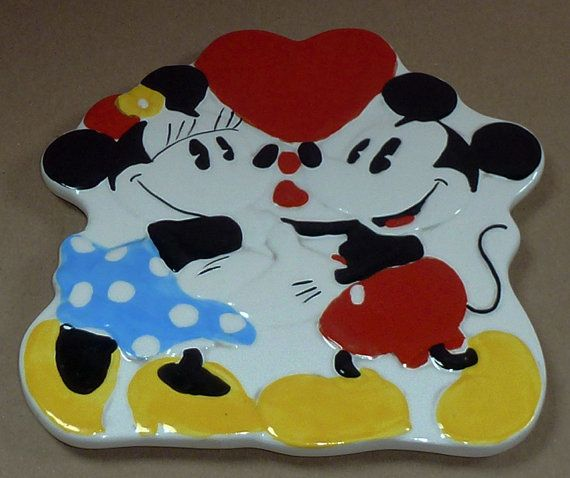 Mickey Amp Minnie Mouse Treasure Craft Large Ceramic Heart