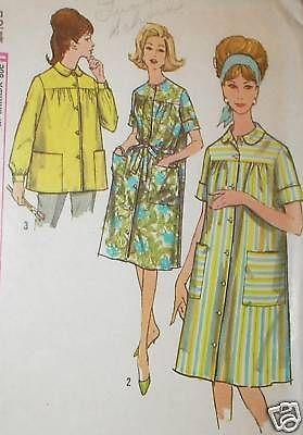 Vtg 60s Simp 4572 Smock Duster House Dress Pattern 32B