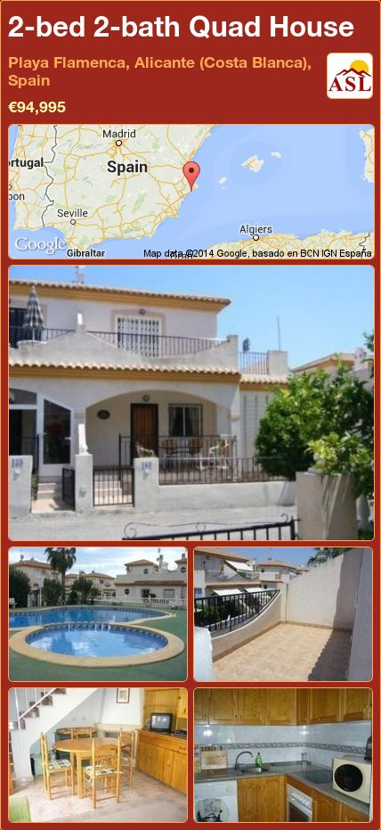 2-bed 2-bath Quad House in Playa Flamenca, Alicante (Costa Blanca), Spain ►€94,995 #PropertyForSaleInSpain