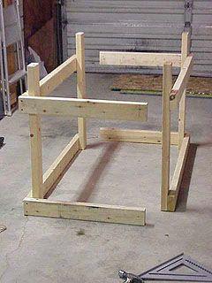 Assembling two halves of workbench frame.