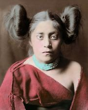 "TEWA NATIVE AMERICAN INDIAN GIRL 1906 8x10"" HAND COLOR TINTED PHOTOGRAPH"