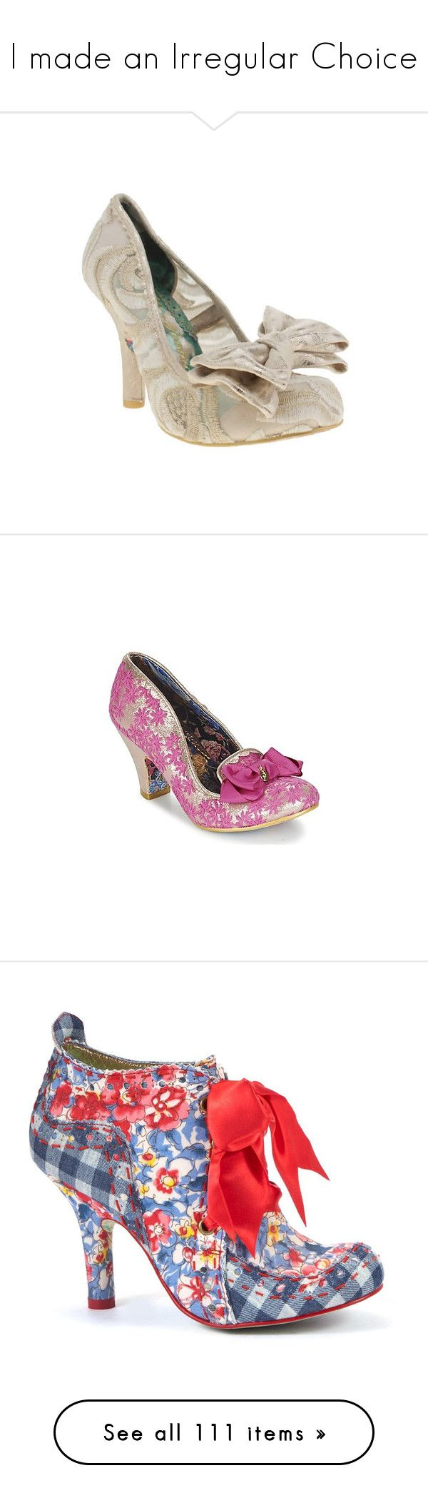 """""""I made an Irregular Choice"""" by taught-to-fly19 on Polyvore featuring shoes, irregular choice shoes, metallic shoes, metallic high heel shoes, high heeled footwear, bow shoes, pumps, pink, irregular choice e synthetic shoes"""