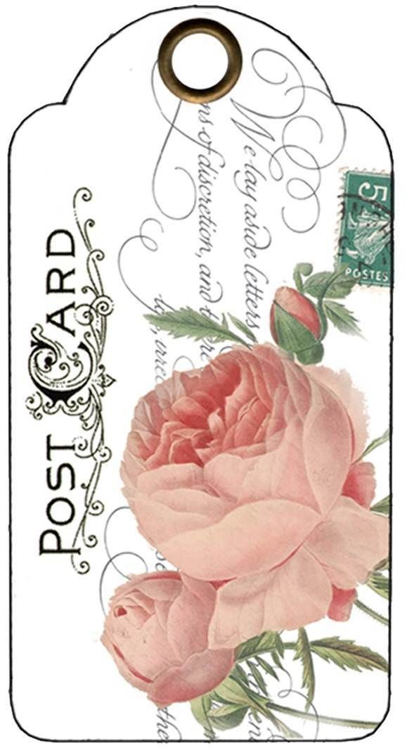 Rose tag with postcard and stamp