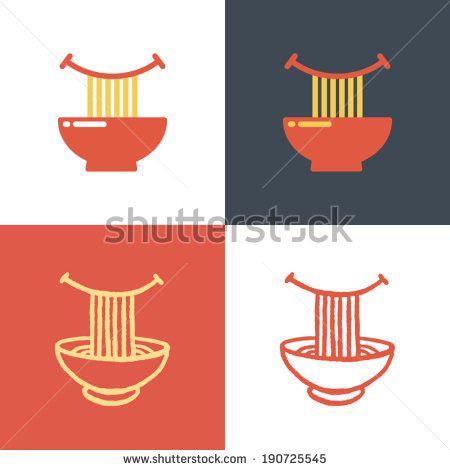 Plate with noodles and happy smile. Vector icon set. Logo template. - stock vector