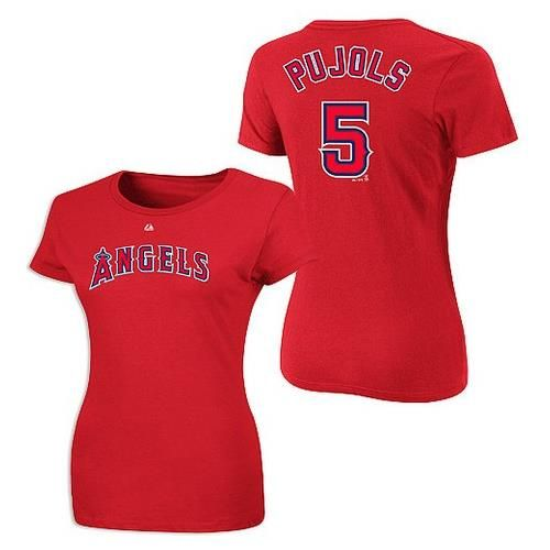Albert Pujols Los Angeles Angels Womens Player Name and Number Majestic Tee
