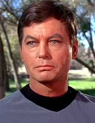 "Jackson ""DeForest"" Kelley (1920-1999), United States Army Air Corps, World War II. Kelly was an actor, screenwriter, poet and singer known for his iconic roles in Westerns and as Dr. Leonard ""Bones"" McCoy of the USS Enterprise in the television and film series Star Trek."