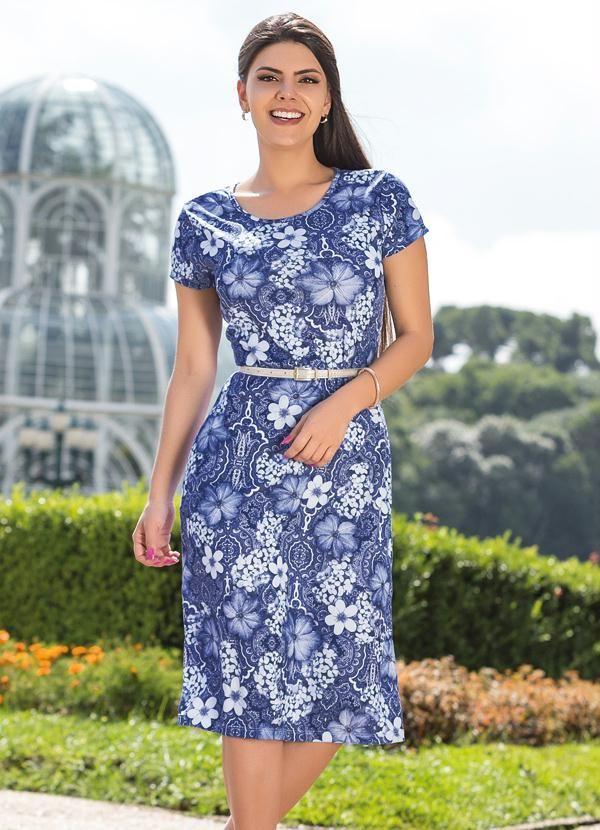 Vestido com Gola Redonda Floral Azul - Posthaus