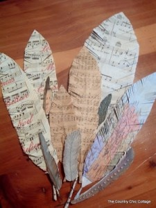 Recycled feathers from paper...could be used for dream catcher feathers