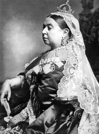 La reina Victoria en el quincuagésimo aniversario de su ascenso al trono.