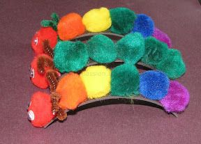 Pom Poms + Magnetic tape --> The hungry Caterpillar and friends   Craft To Art