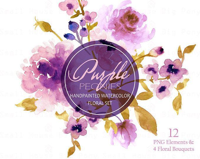 Acuarela Floral Clipart. Hecho a mano, imágenes prediseñadas de la acuarela, elementos de bricolaje, flores - peonías color púrpura de la boda