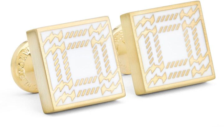 Robert Graham Square Houndstooth-Print Cuff Links, Gold/White
