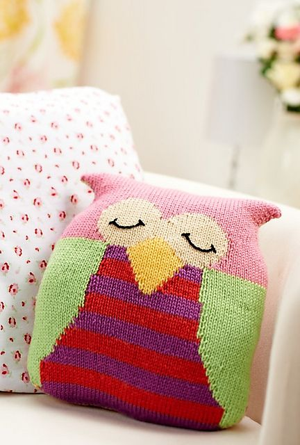 Owl cushion pattern by Amanda Berry from Let's Get Crafting Knitting & Crochet issue 48