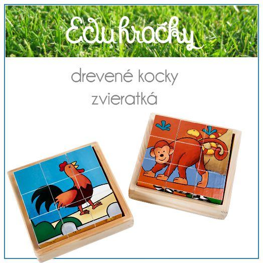 Dve drevené škatuľky a v každej z nich sa nachádza deväť drevených kociek. Ak sa kocky správne uložia do drevenej škatuľky vznikne tak šesť obrázkov zvieratiek. Dieťa sa tak hravou formou naučí zvieratká z farmy ako aj zvieratká z džungle a savany.