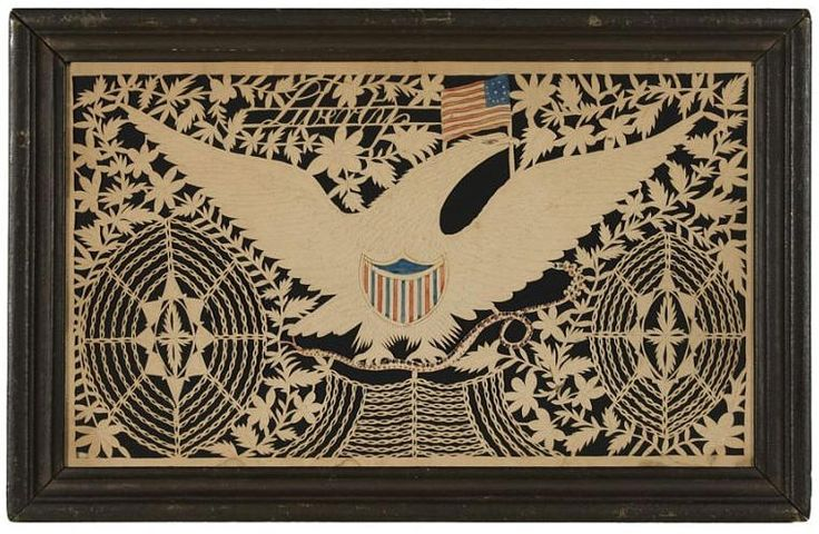 "American Eagle, Shield and Flag, ""Liberty"" , Isaac Stiehly cut paper Scherenschnitte, Mahantongo Valley, Pennsylvania, ca. 1835"