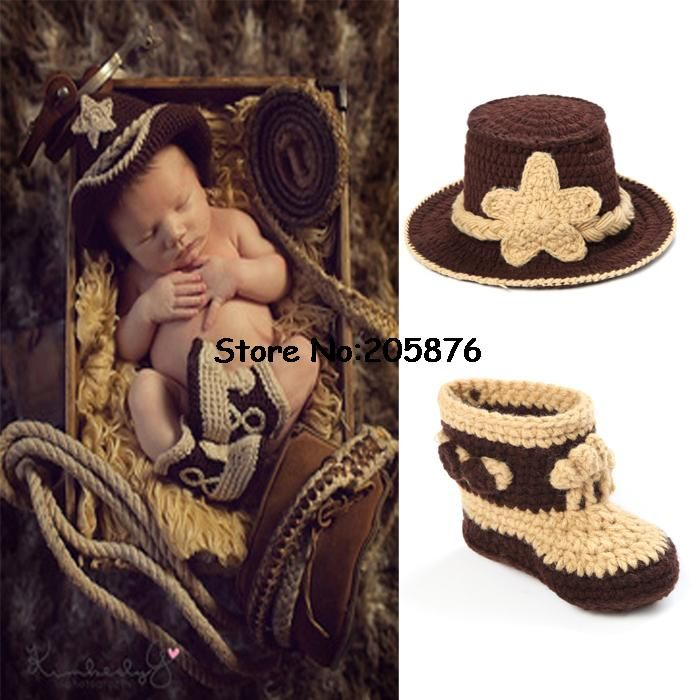 Classic Crochet Baby Cowboy Hat and Boots set Newborn Photo Props for Boys Infant Toddler Knitted Costume 0-12M 1set MZS-14026