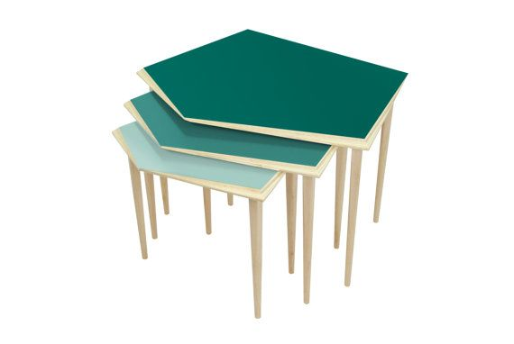 Nest of tables / set of nested tables / turquoise side table / mid century modern coffee table