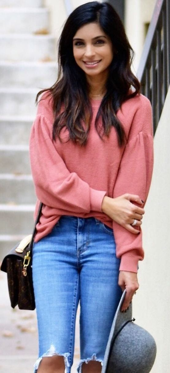 #winter #outfits  pink crew-neck sweater and blue distressed denim pants