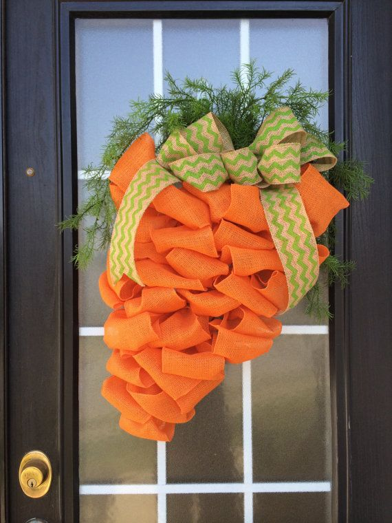 Extra Large Easter Carrot Burlap Wreath; Carrot Door Hanger; Looped Orange Burlap Carrot Door Hanger with Greenery Carrot Top & Chevron Bow on Etsy, $49.99