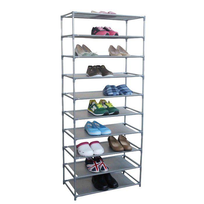 30 Pair Non Woven 10 Tier Shoe Rack Wood Shoe Rack Shoe Rack Home Basics