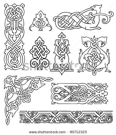 antique old Russian ornaments vector set  Image ID: 80712325