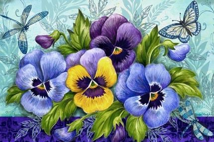 Blue Pansies Hz by Elena Vladykina