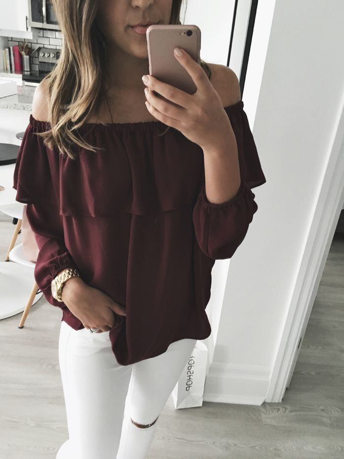 off-the-shoulder summer to fall transitional piece