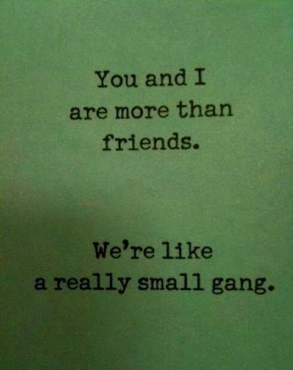 @Ashley Moreira ...i can't believe i just saw this randomly on the main pinterest page. who knew that other very small gangs exist?! haha: Small Gang, Best Friends, Quotes, You And I, Bff, Funny, Friendship, Beasts, Bestfriend