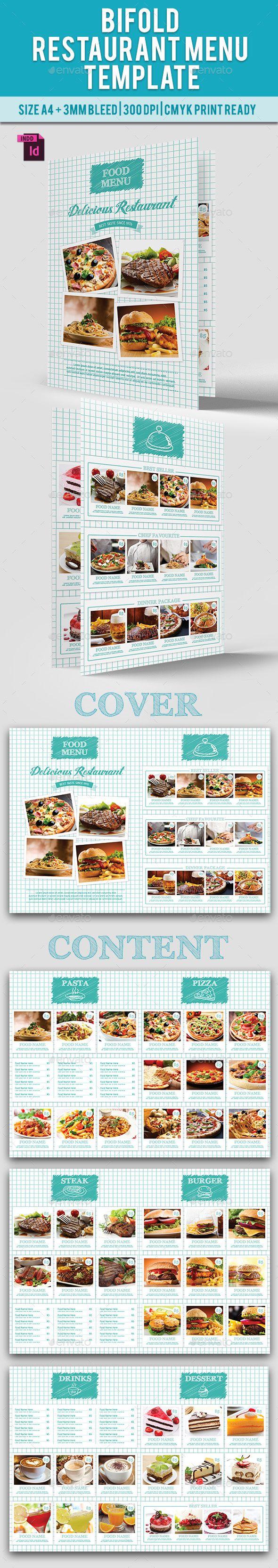 BiFold Restaurant Menu Template InDesign INDD. Download here: http://graphicriver.net/item/bifold-restaurant-menu-vol-10/15568691?ref=ksioks