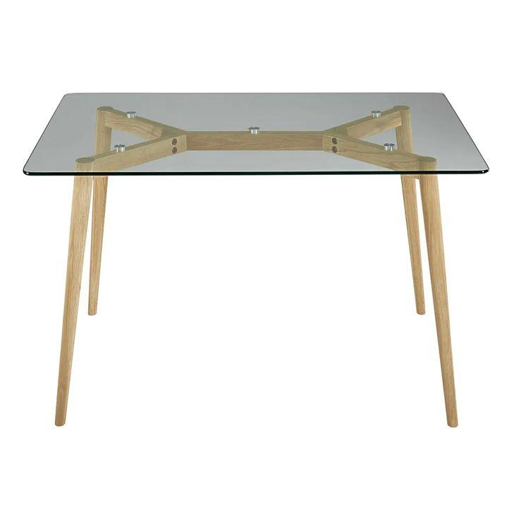 Tavolo per sala da pranzo in vetro e quercia 120 cm ...