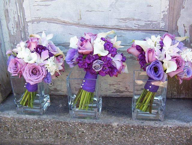 Dark Purple lisanthius wedding boquets   purple rose, callas, lisianthus & orchid bouquet