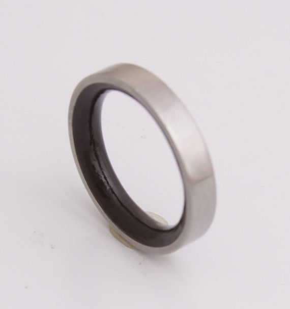 Titanium Ring size 7 Ebony  Wood Ring Jewelry Ring by aboutjewelry