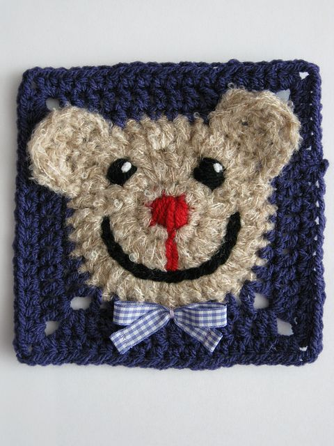 I want a Bear Blankie! Bear face square: free pattern