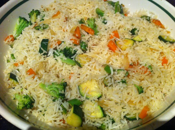 Basmati rice with vegetables! Zucchini, carrots, broccoli, asparagus and onion. Pan fried and mixed with boiled basmati rice1