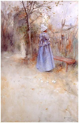 """Carl Larsson """"Höst"""" (1884).  Suzannes barnflicka Zerline är utstyrd i 1700-talskostym. Det sönderrivna brevet på marken antyder en berättelse vars vemod avspeglas i naturen. Akvarell. Nationalmuseum."""