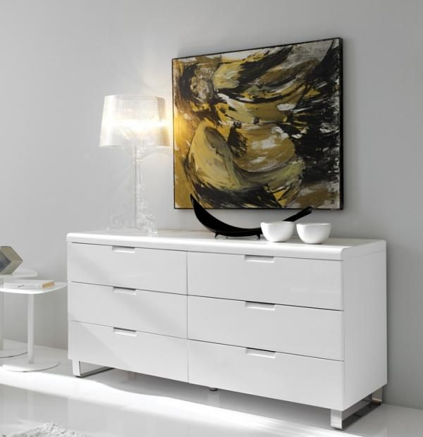 Alamo, Modern Sideboard or Chest of Drawers in White High ...