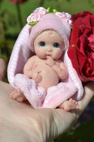 "Original Art OOAK Polymer Clay baby doll girl 3.5"" May by Yulia Shaver"