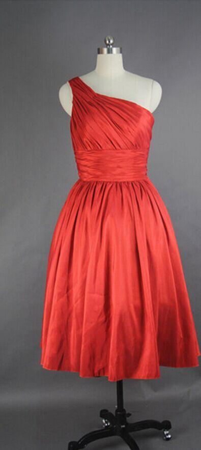 Red Bridesmaid Dress,Simple Bridesmaid Dress, Elegant Bridesmaid Dress, Short/Mini Bridesmaid Dress, Chiffon Bridesmaid Dress ,One Shoulder Bridesmaid Dress,Wedding Bridesmaid Dress