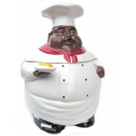 Amazon Com New Fat Bistro Chef Cookie Jar Black Ethnic African American Kitchen