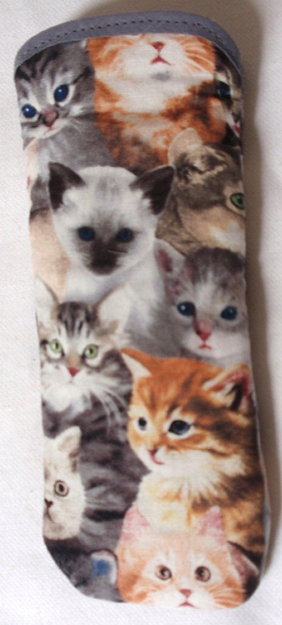 These are an unusual item, hand made glasses cases with a design of pretty kittens all over.They have a quilted lining to protect your glasses.