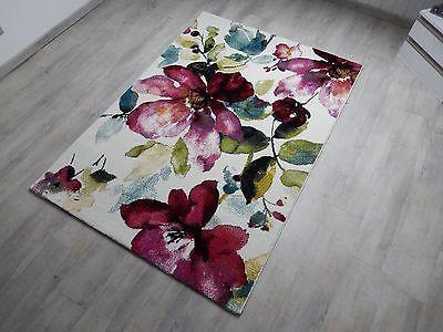 Designer Teppich Modern Blumen Muster Trendiger Kurzflor Teppich Rosa Lila Bunt